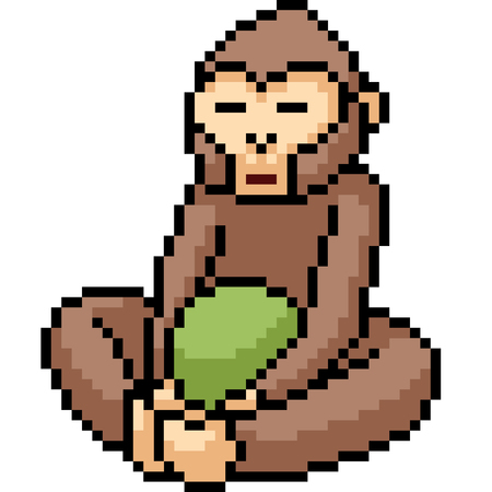 vector pixel art monkey meditate isolated cartoon