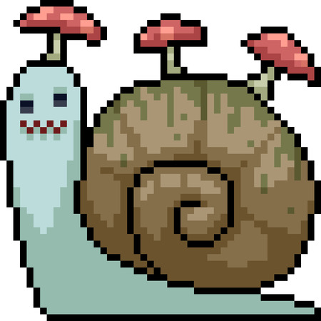vector pixel art snail mushroom isolated cartoon Illustration