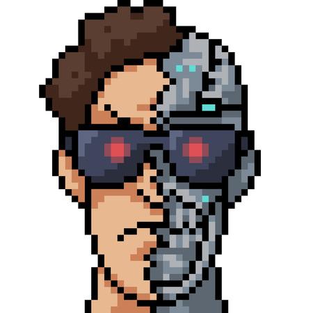 vector pixel art robot man isolated cartoon