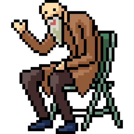 vector pixel art old man isolated cartoon