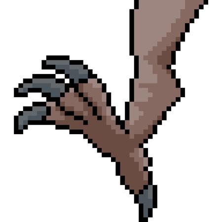vector pixel art monster leg isolated cartoon