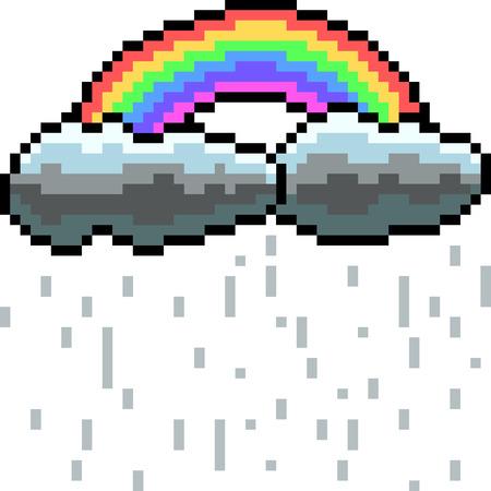 vector pixel art rainbow cloud isolated cartoon