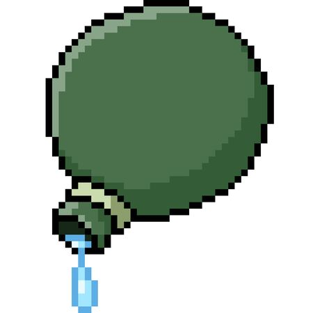 vector pixel art water flask isolated cartoon
