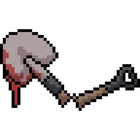 vector pixel art shovel murder isolated cartoon