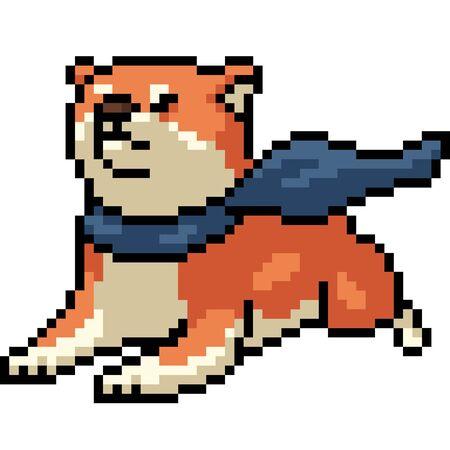 vector pixel art shiba dog isolated cartoon