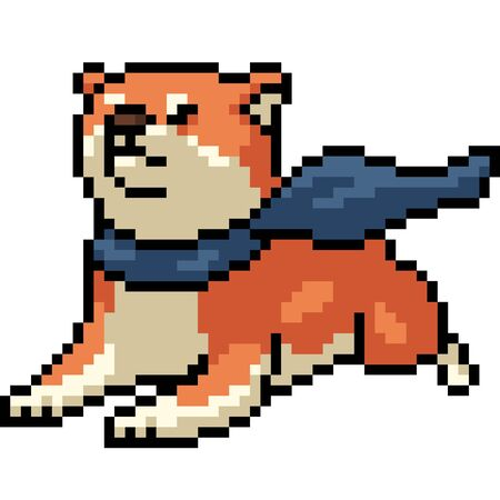 vector pixel art shiba dog isolated cartoon