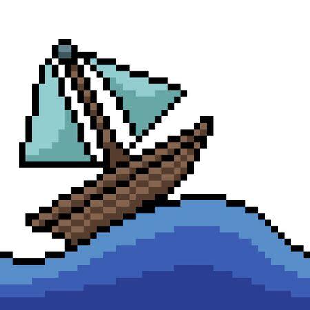 vector pixel art small boat isolated cartoon
