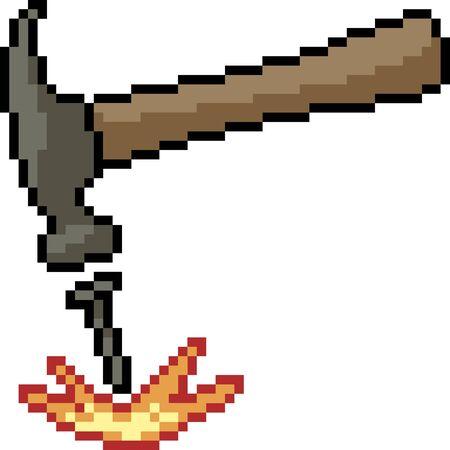 vector pixel art hammer nail isolated cartoon
