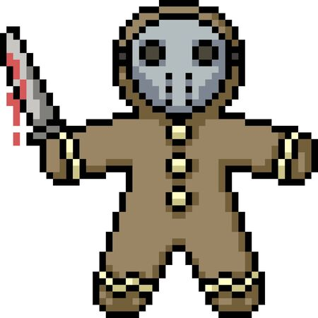 vector pixel art cookie murderer isolated cartoon