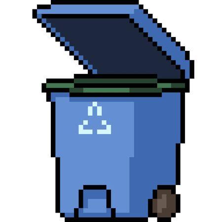 vector pixel art recycle bin isolated cartoon Illustration