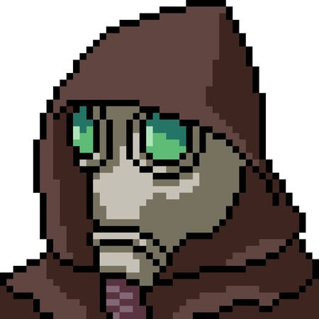 vector pixel art mask hood isolated cartoon