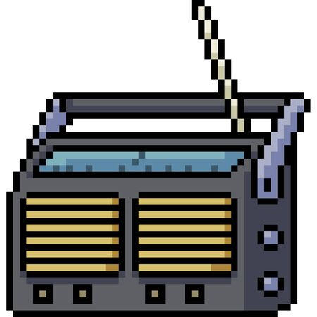 vector pixel art radio isolated cartoon Vector Illustration