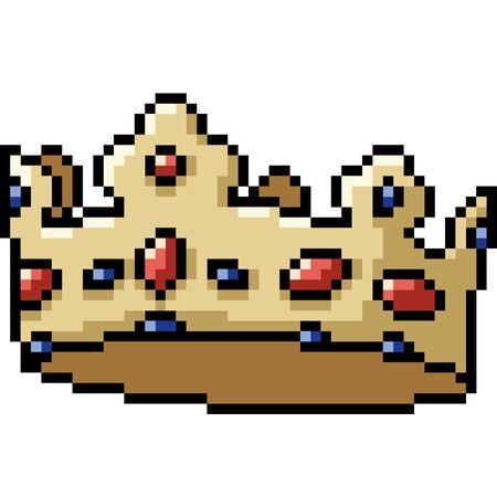 vector pixel art crown isolated cartoon Çizim