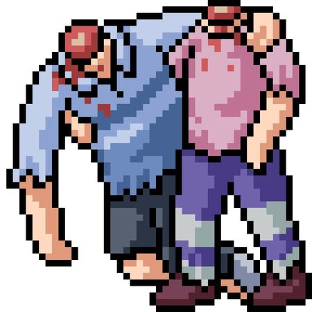 vector pixel art zombie friend isolated cartoon