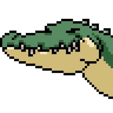 vector pixel art crocodile isolated cartoon