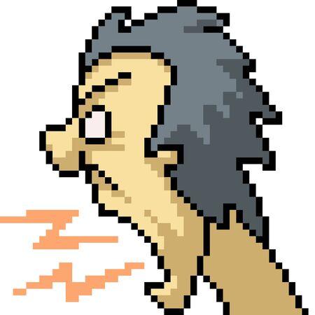 vector pixel art angry man isolated cartoon Çizim