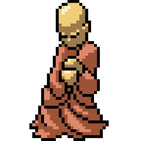 vector pixel art gold monk isolated cartoon Stock Illustratie