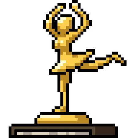 vector pixel art trophy isolated cartoon