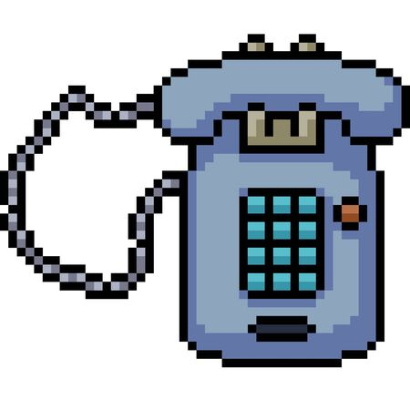 vector pixel art home telephone isolated cartoon
