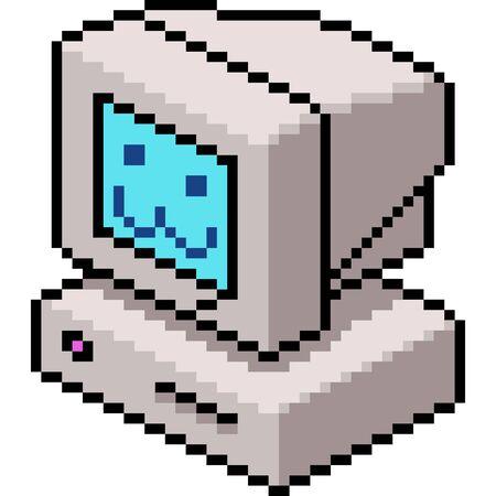 vector pixel art computer isolated cartoon