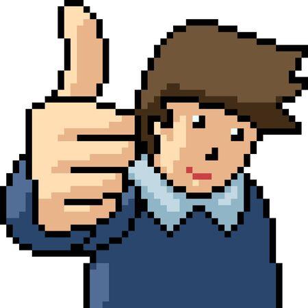vector pixel art thumb up isolated cartoon
