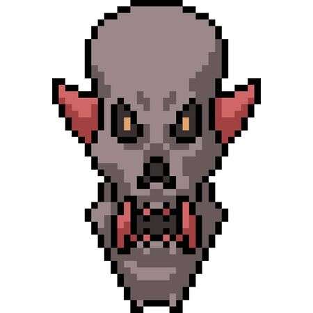 vector pixel art demon isolated cartoon