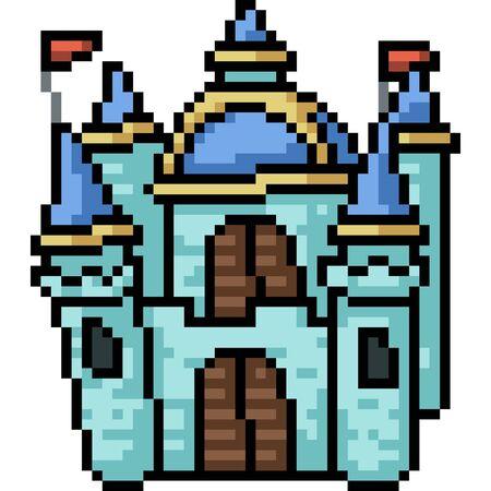 vector pixel art castle isolated cartoon Ilustrace