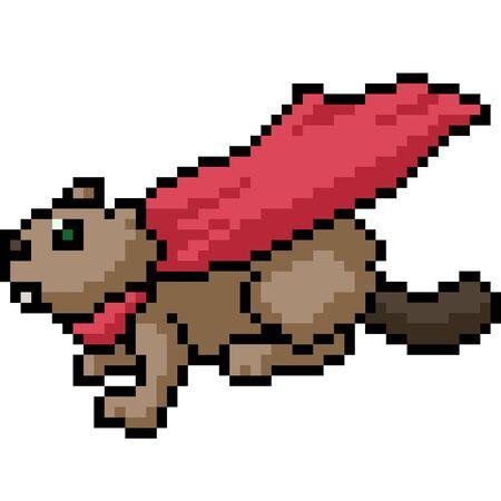 vector pixel art beaver hero isolated cartoon Ilustrace