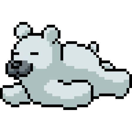 vector pixel art polar bear isolated cartoon