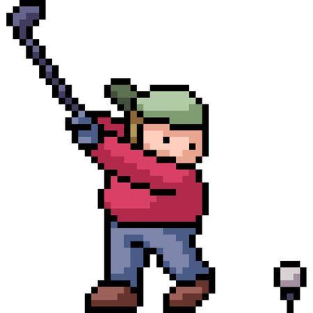 vector pixel art kid play golf isolated cartoon Ilustrace