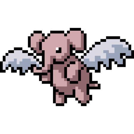 vector pixel art elephant fly isolated cartoon