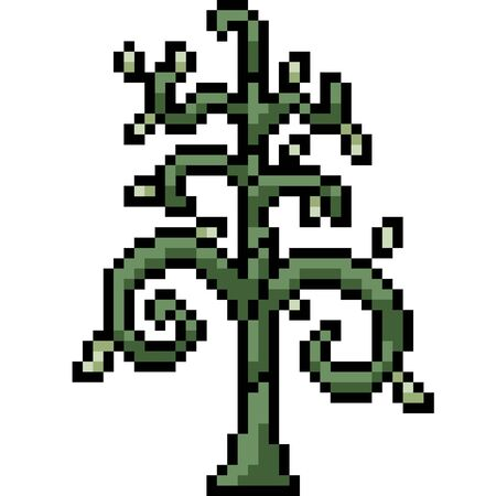 vector pixel art abstract tree isolated cartoon