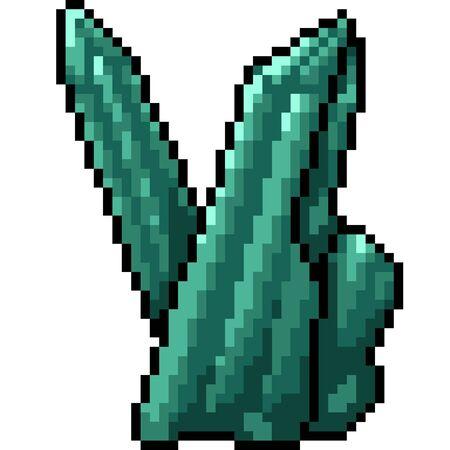 vector pixel art raw crystal isolated cartoon