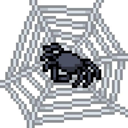 vector pixel art spider isolated cartoon Ilustrace