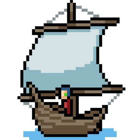 vector pixel art boat isolated cartoon Ilustrace