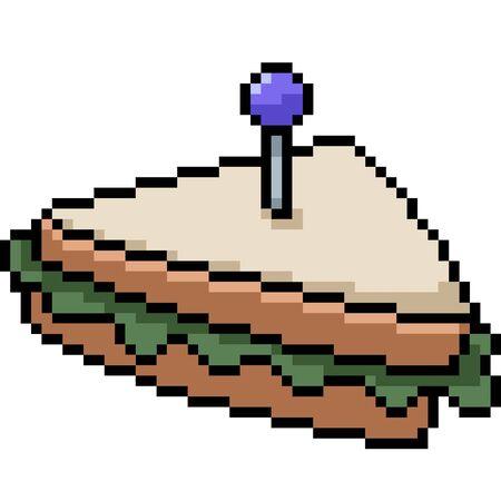 vector pixel art sandwich isolated cartoon