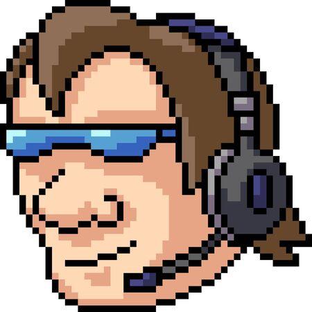 vector pixel art gamer isolated cartoon