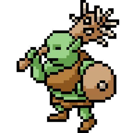 vector pixel art ogre isolated cartoon
