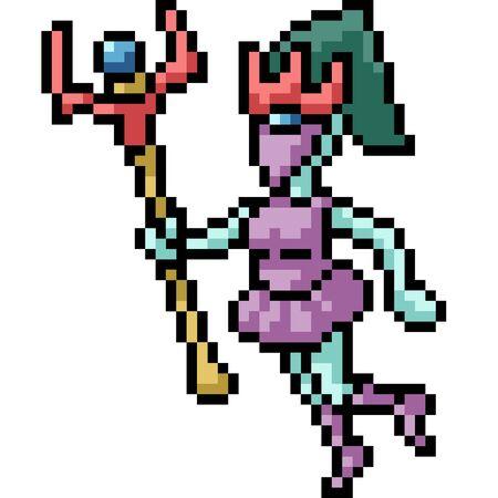 vector pixel art game character isolated cartoon