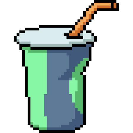 vector pixel art drink cup isolated cartoon