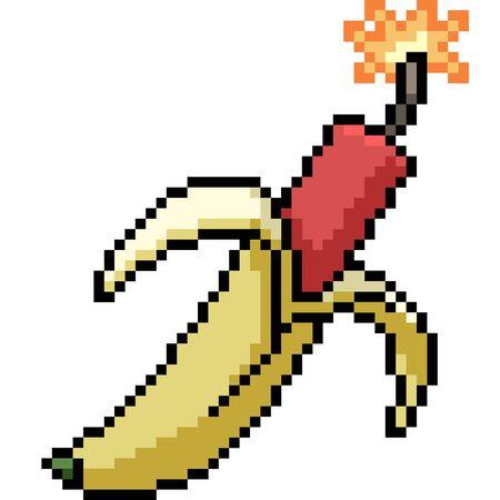 vector pixel art banana dynamite isolated cartoon Ilustrace