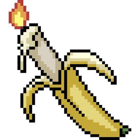 vector pixel art banana candle isolated cartoon