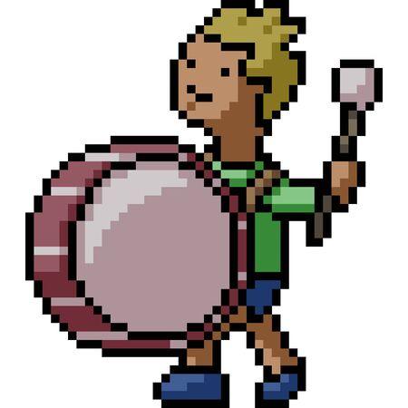 vector pixel art drum kid isolated cartoon