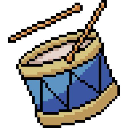 vector pixel art drum isolated cartoon