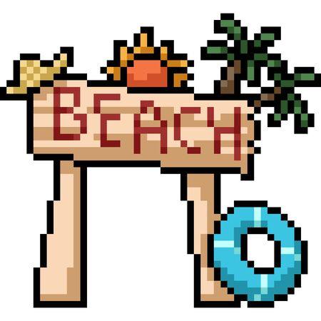vector pixel art beach sign isolated cartoon