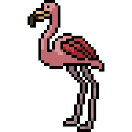 vector pixel art flamingo isolated cartoon