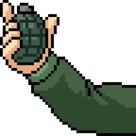 vector pixel art grenade throw isolated cartoon