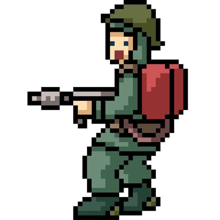 vector pixel art fire soldier isolated cartoon