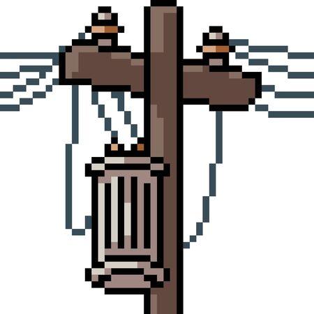 vector pixel art electric pole isolated cartoon Ilustrace