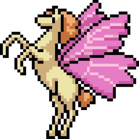 vector pixel art butterfly pegasus isolated cartoon